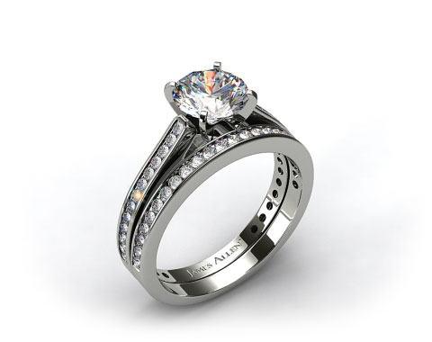 18k White Gold Thin Channel Set Round Shaped Diamond Engagement Ring &amp; .28ct Channel Set Wedding Band